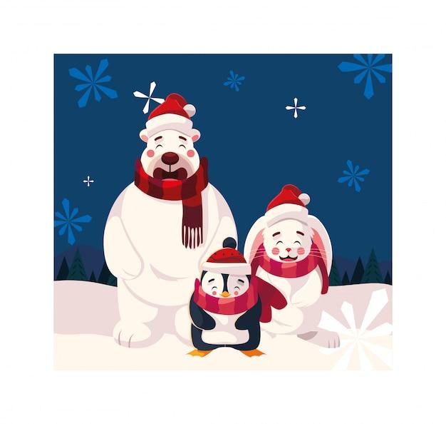 Cartão de natal com ícones de natal Vetor Premium