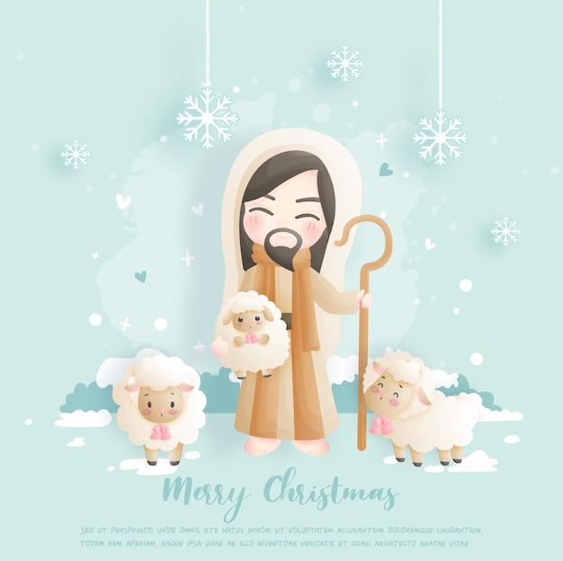 Cartão de natal com jesus e suas ovelhas. Vetor Premium