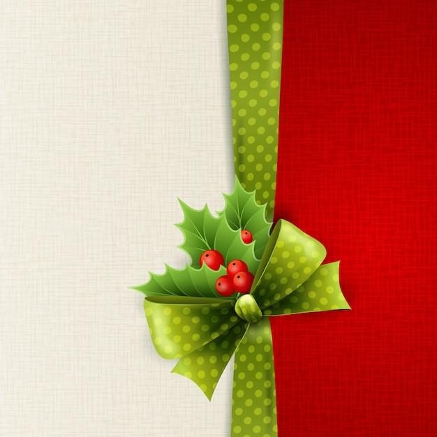 Cartão de natal com laço de bolinhas verdes e azevinho Vetor Premium