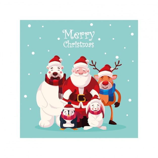 Cartão de natal com letras de feliz natal Vetor Premium