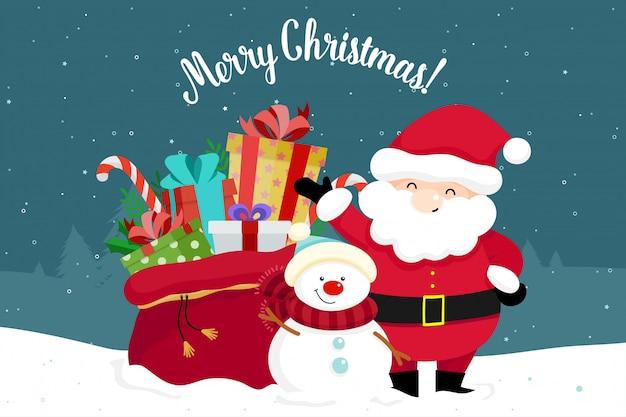 Cartão de natal com natal papai noel, boneco de neve e presentes. ilustração vetorial Vetor Premium