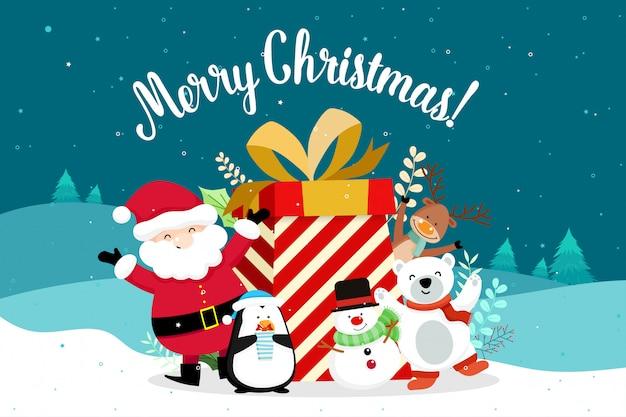 Cartão de natal com natal papai noel, boneco de neve e renas. ilustração vetorial Vetor Premium