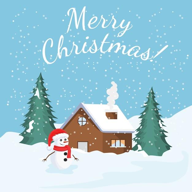 Cartão de natal com paisagem de inverno Vetor Premium