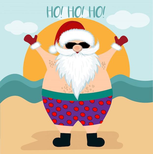 Cartão de natal com papai noel na praia Vetor Premium