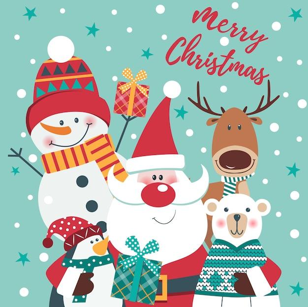 Cartão de natal com papai noel, veado, urso polar | Vetor Premium