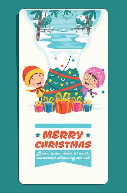 Cartão de natal com personagens de desenhos animados Vetor Premium