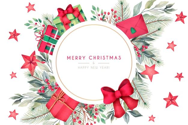 Cartão de natal com presentes em aquarela e decoração Vetor grátis