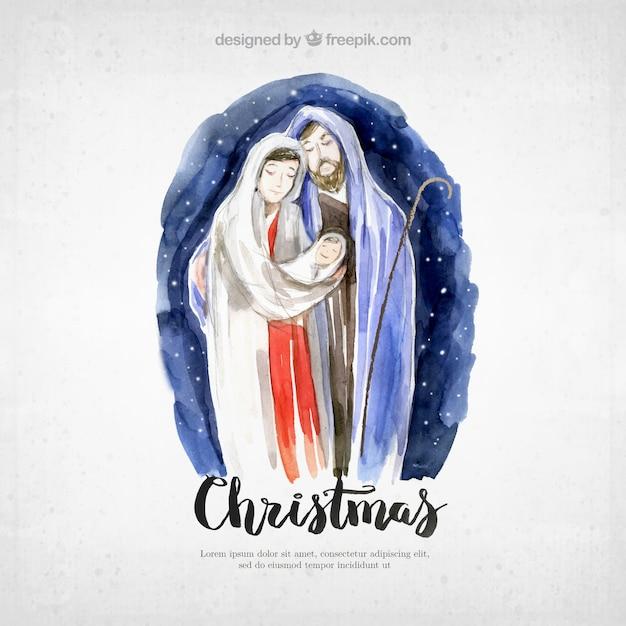 Cartão de natal com presépio muito aguarela Vetor grátis