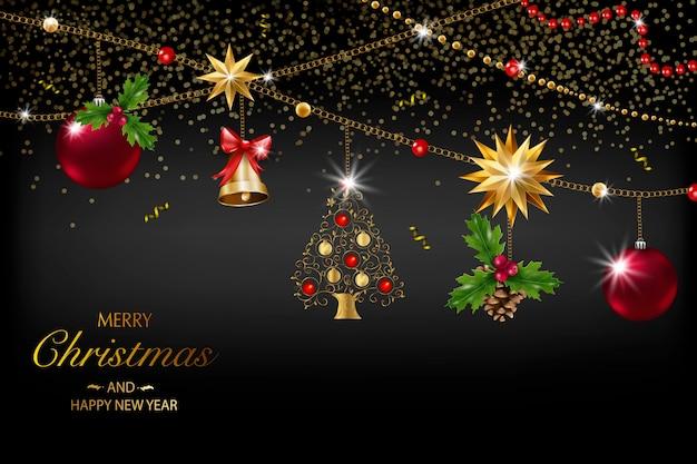 Cartão de natal com uma composição de elementos festivos como estrela dourada, bagas, decorações para a árvore de natal, galhos de pinheiro. feliz natal e feliz ano novo. decoração glitter, ouro Vetor Premium