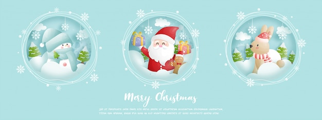 Cartão de natal, comemorações com o papai noel e amigos, cena de natal em estilo recortado Vetor Premium