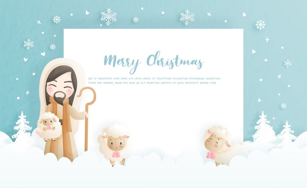 Cartão de natal, conceito de celebração com jesus cristo e suas ovelhas Vetor Premium