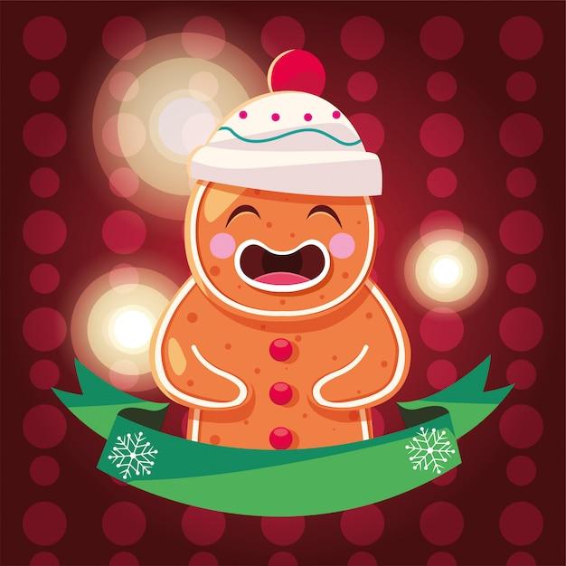 Cartão de natal de homem-biscoito Vetor Premium