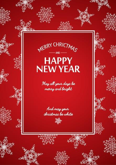 Cartão de natal e ano novo com inscrição caligráfica em moldura retangular e flocos de neve brancos no vermelho Vetor grátis