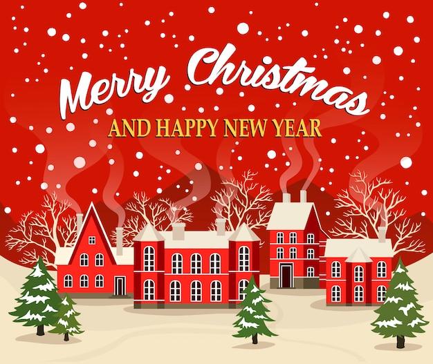 Cartão de natal e ano novo Vetor Premium