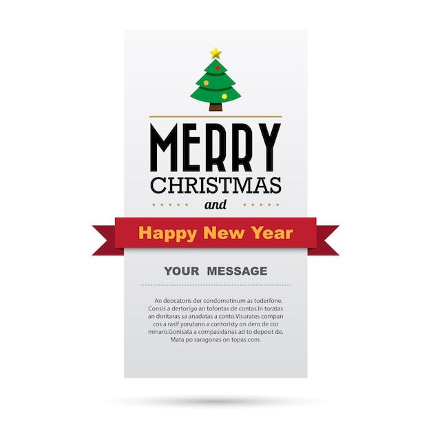 Cartão de natal e feliz ano novo Vetor Premium