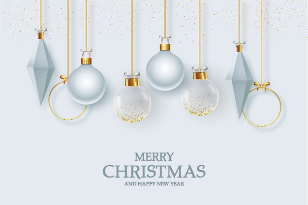 Cartão de natal fofo com decoração elegante de natal realista Vetor grátis