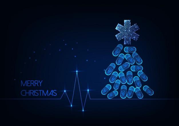 Cartão de natal futurista para medicina com árvore de natal brilhante feita de comprimidos e estrela da vida Vetor Premium