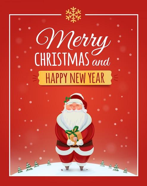 Cartão de natal, pôster com papai noel. . feliz natal e feliz ano novo Vetor Premium