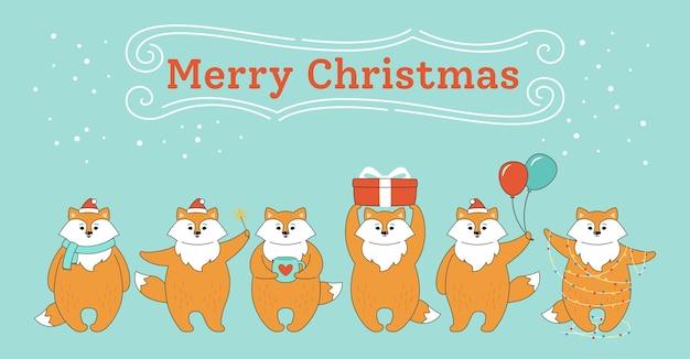 Cartão de natal, raposas vermelhas em diferentes poses Vetor Premium