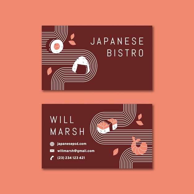 Cartão de negócios dupla face para restaurante japonês h Vetor Premium