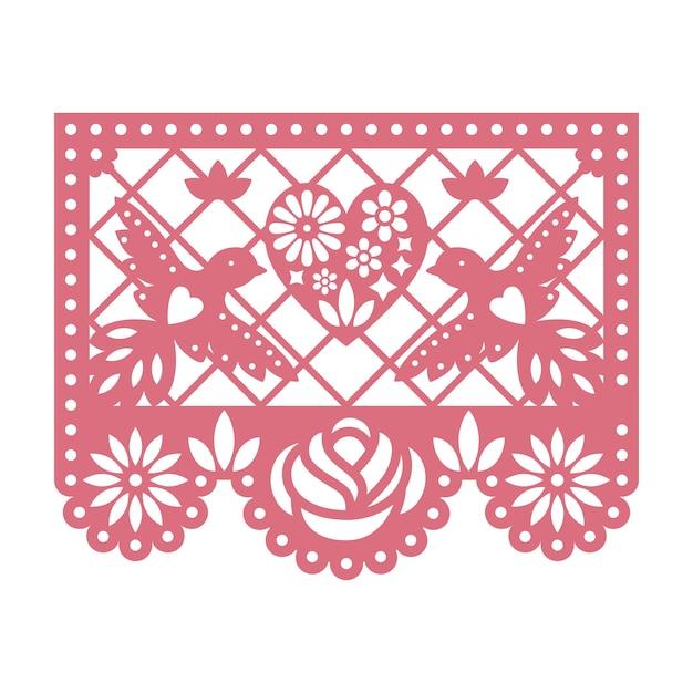 Cartão de papel com flores cortadas, pombas e coração. Vetor Premium