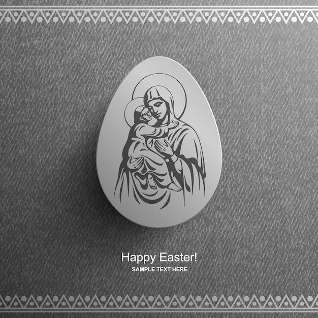 Cartão de páscoa com a imagem da bem-aventurada virgem maria e o bebê jesus cristo, fundo de páscoa, Vetor Premium
