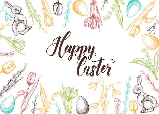 Cartão de páscoa primavera com mão desenhada ovo de páscoa, coelho de chocolate, lírios do vale, tulipa, floco de neve, açafrão, salgueiro. mão feita letras-feliz páscoa Vetor Premium
