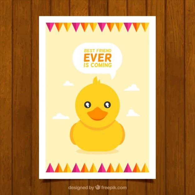 Cartão de pato lindo Vetor grátis