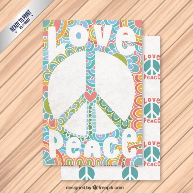 Cartão de paz abstrato no estilo colorido Vetor grátis