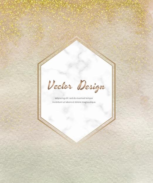 Cartão de pincelada aquarela nua com confete de glitter dourados e moldura hexágono de mármore. Vetor Premium