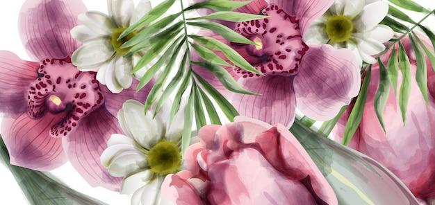 Cartão de plano de fundo de flores de orquídea Vetor Premium