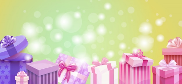 Cartão de presente de dia dos namorados holiday amor presente caixa colorida banner Vetor Premium