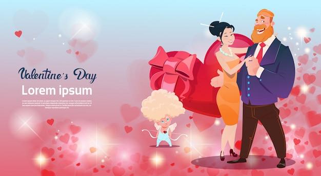 Cartão de presente de dia dos namorados Vetor Premium