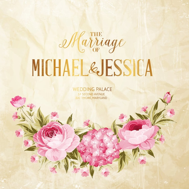 Cartão de quadro de casamento de florescer rosa e hortênsia. Vetor grátis