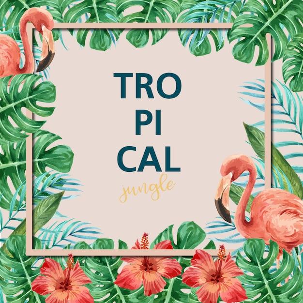 Cartão de quadro de verão tropical Vetor grátis