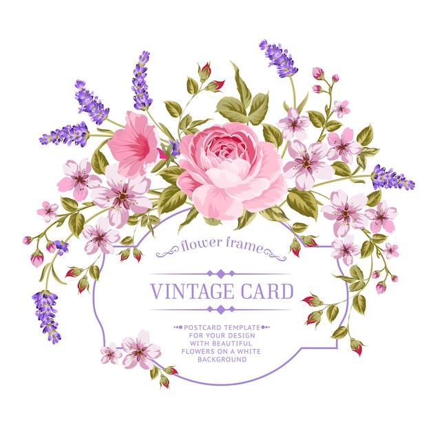 Cartão de quadro rosa e lavanda de florescência. Vetor grátis
