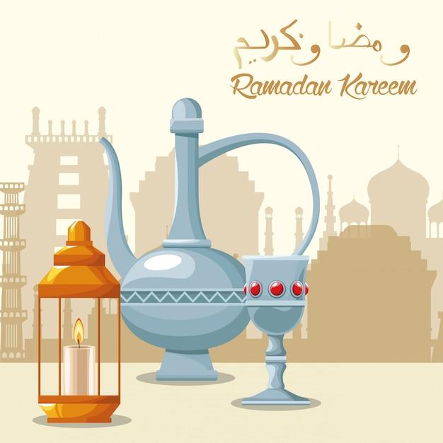 Cartão de ramadã kareem celebração com bule e cálice Vetor Premium