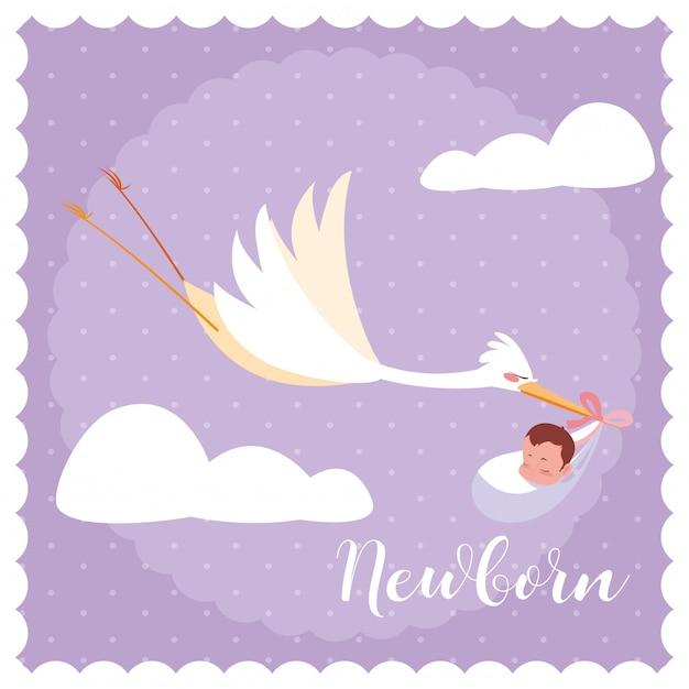 Cartão de recém-nascido com cegonha voando e saco de bebê Vetor Premium