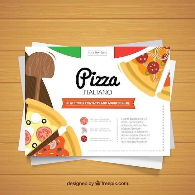 Cartão de restaurante de pizza de design plano Vetor grátis