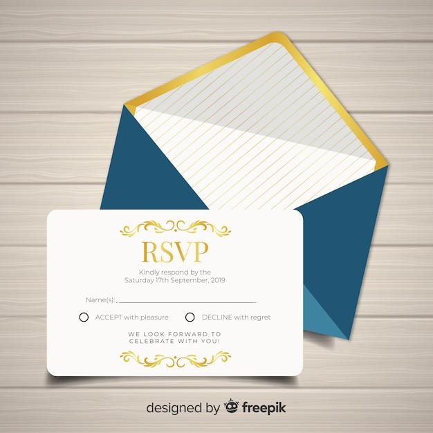 Cartão de rsvp de casamento Vetor grátis