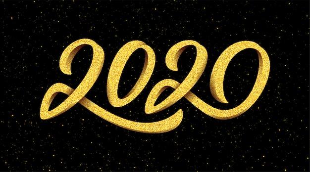 Cartão de saudação de ano novo 2020 com caligrafia Vetor Premium