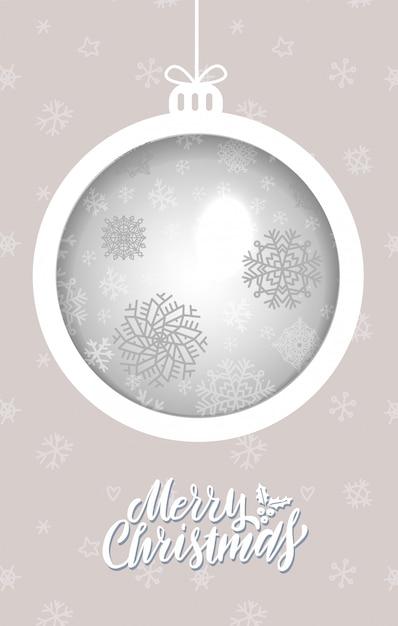 Cartão de saudação de bola de natal Vetor Premium