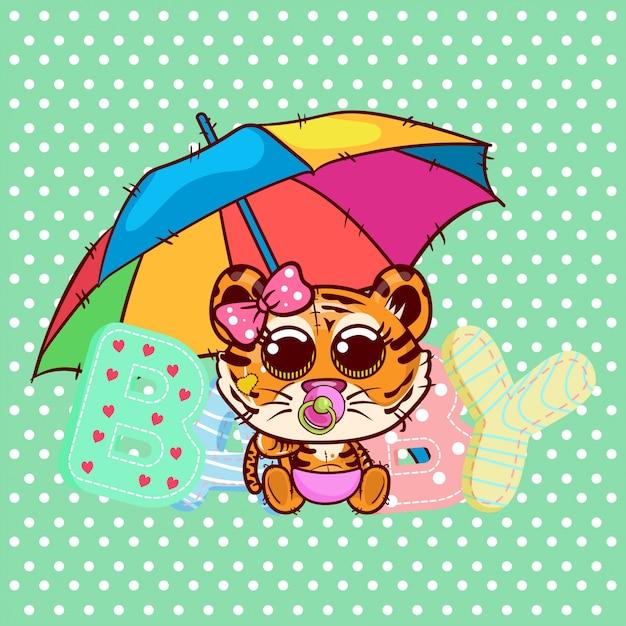 Cartão de saudação de chuveiro de bebê com menina de tigre bonito dos desenhos animados - vetor Vetor Premium