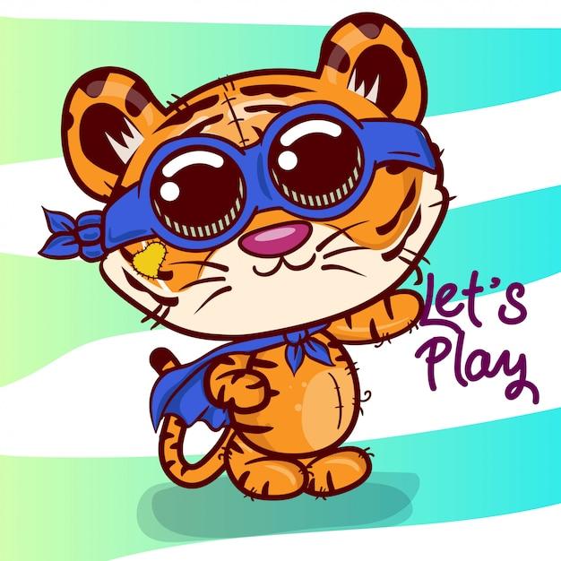 Cartão de saudação de chuveiro de bebê com tigre bonito dos desenhos animados - vetor Vetor Premium