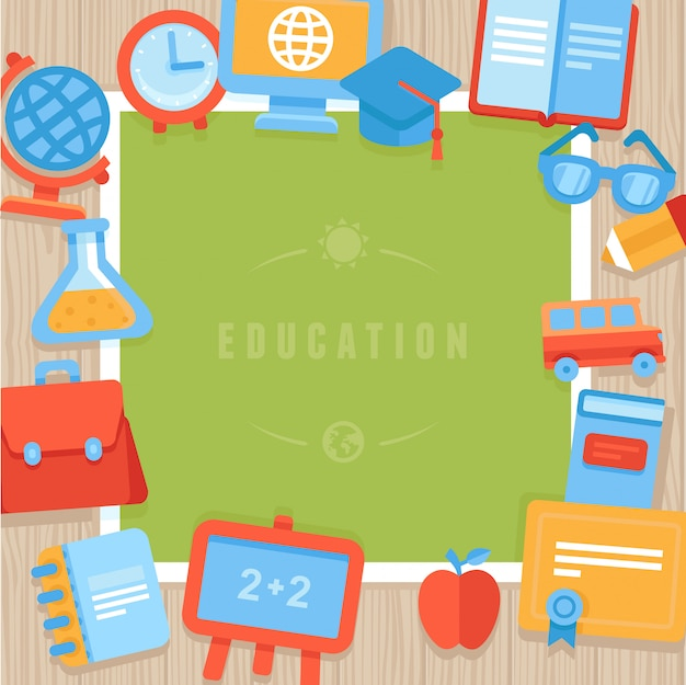 Cartão de saudação de educação de vetor Vetor Premium