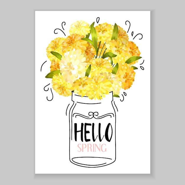 Cartão de saudação de flor Vetor grátis