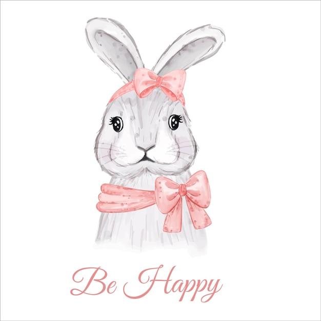 Cartão de ser feliz com aquarela coelhinho da páscoa Vetor grátis