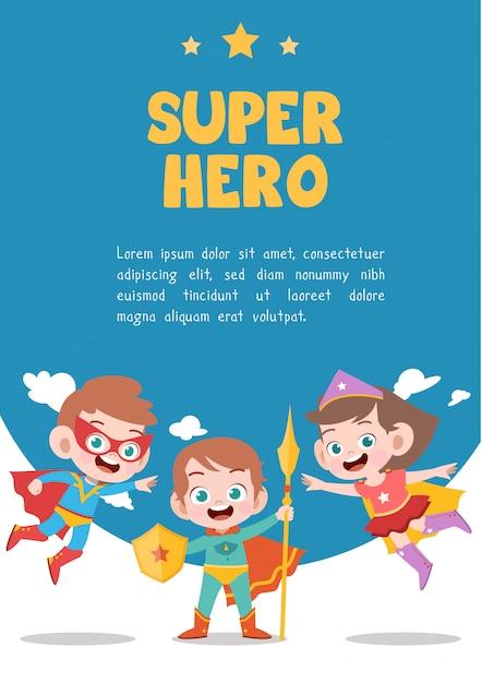 Cartão de super-herói de crianças Vetor Premium