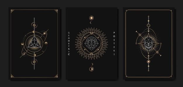Cartão de tarô de símbolos geométricos astrológicos Vetor grátis