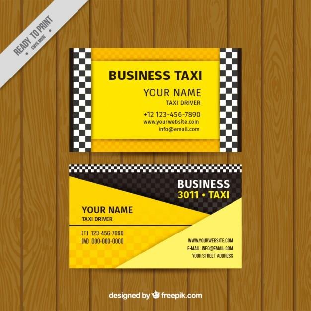 Cartão de táxi na cor amarela Vetor grátis